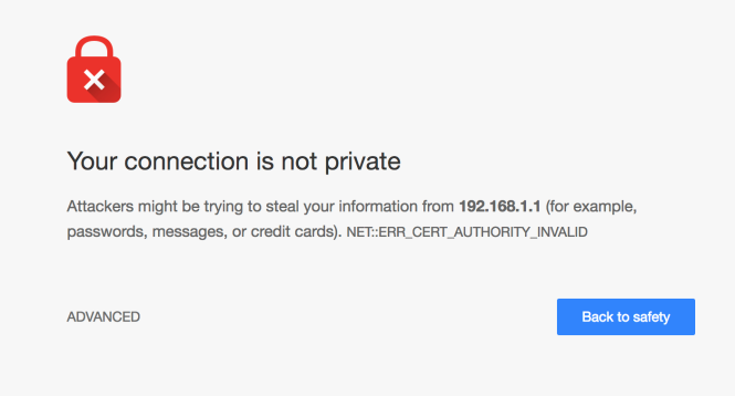 Chrome cert error